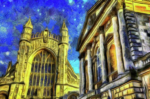 Bath Abbey Photograph - City Of Bath Van Gogh by David Pyatt