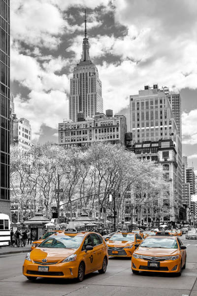 Monochrome Photograph - City Of Cabs by Az Jackson