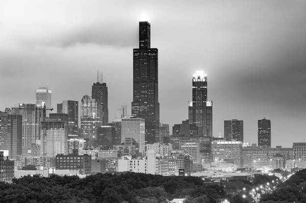 Photograph - City Of Chicago Skyline Black And White by Gregory Ballos