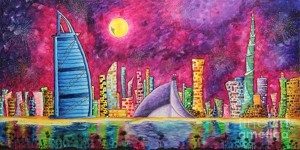 Wall Art - Painting - City Of Dubai Pop Art Original Luxe Life Painting By Madart by Megan Duncanson