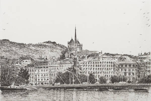 Lake Geneva Wall Art - Drawing - City Of Geneva by Vincent Alexander Booth