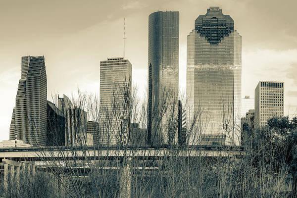 Photograph - City Of Houston Texas - Sepia Skyline by Gregory Ballos