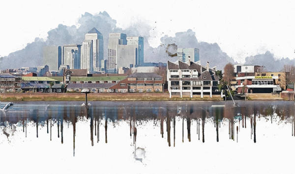 River Scene Mixed Media - City Of London by Anna Maloverjan