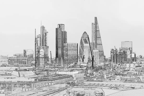 Photograph - City Of London Outline Poster Bw by Gary Eason