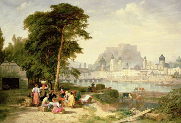 Linen Wall Art - Painting - City Of Salzburg by Philip Hutchins Rogers