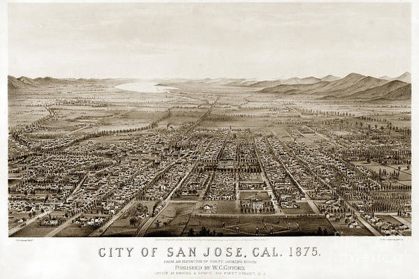 Photograph - City Of San Jose County Of Santa Clara 1875 by California Views Archives Mr Pat Hathaway Archives