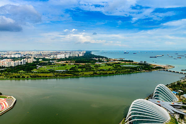 Photograph - City Of Singapore And Blue Sky by Michael Scott