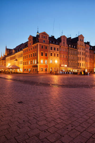 Tenement Photograph - City Of Wroclaw Old Town Market Square At Night by Artur Bogacki