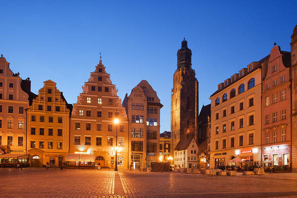 Tenement Photograph - City Of Wroclaw Old Town Skyline At Dusk by Artur Bogacki