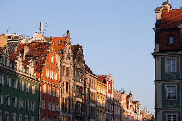 Tenement Photograph - City Of Wroclaw Old Town Skyline At Sunset by Artur Bogacki