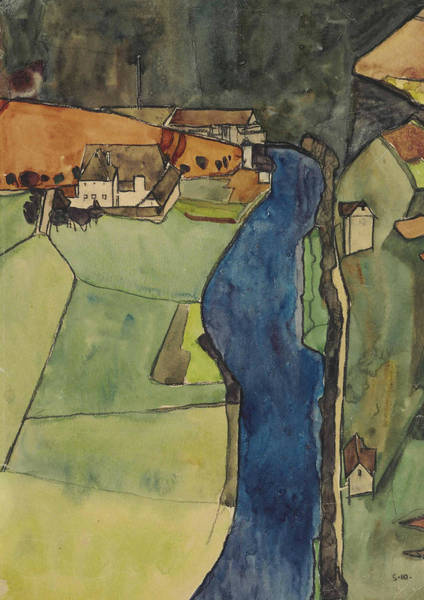Painting - City On The Blue River by Egon Schiele