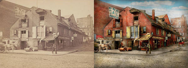 Photograph - City - Pa - Fish And Provisions 1898 - Side By Side by Mike Savad