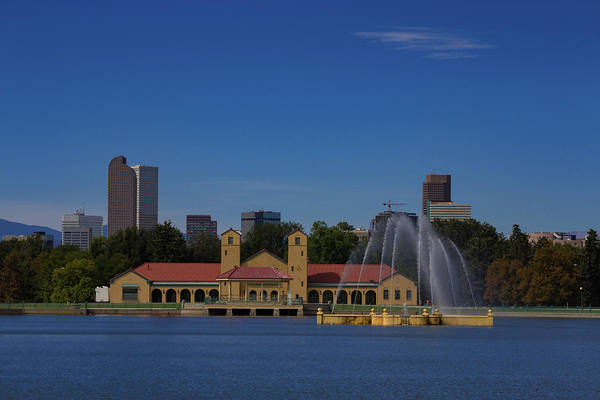 Wall Art - Photograph - City Park Boat House And Fountain With Downtown Denver Skyline In The Summer by Bridget Calip