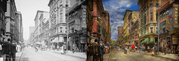 Wall Art - Photograph - City - Providence Ri - Living In The City 1906 - Side By Side by Mike Savad
