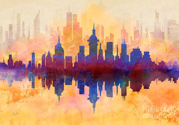 Decorating Mixed Media - City Pulse by Peter Awax