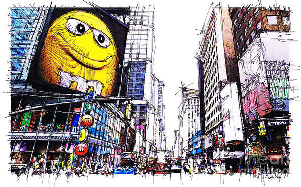 Wall Art - Drawing - City Sketch, 7th Ave Broadway Manhattan, Yellow Mm by Drawspots Illustrations