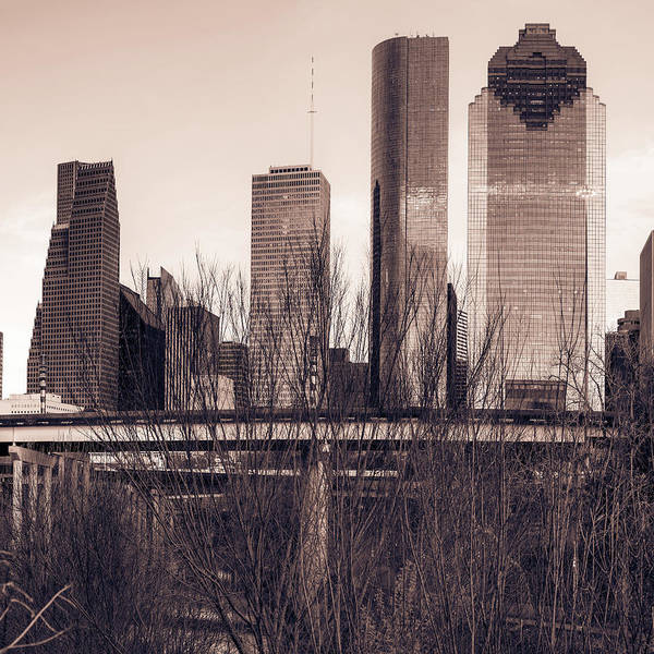 Photograph - City Skyline Downtown Houston In Sepia 1x1 by Gregory Ballos