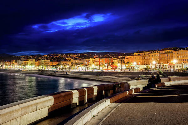 Wall Art - Photograph - City Skyline Of Nice In France At Night by Artur Bogacki
