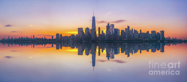 Lower Manhattan Photograph - City Skyline Reflections Panorama by Michael Ver Sprill