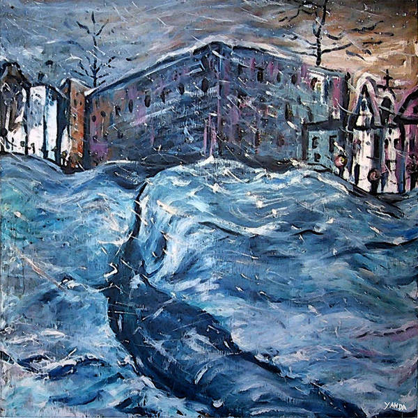 Painting - City Snow Storm by Katt Yanda