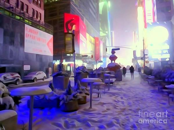 Neon Lights Mixed Media - City Snowfall by Ed Weidman