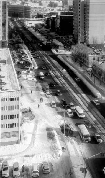 Photograph - City Street In Monochrome Aerial View by John Williams