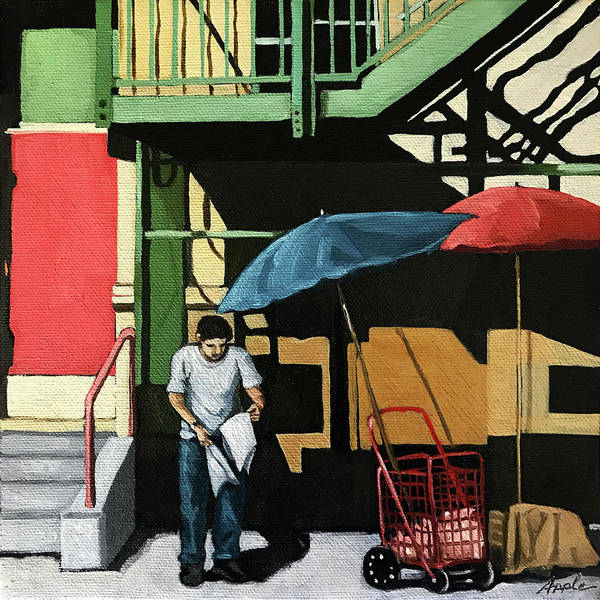 Wall Art - Painting - City Streets - Man On Street  by Linda Apple