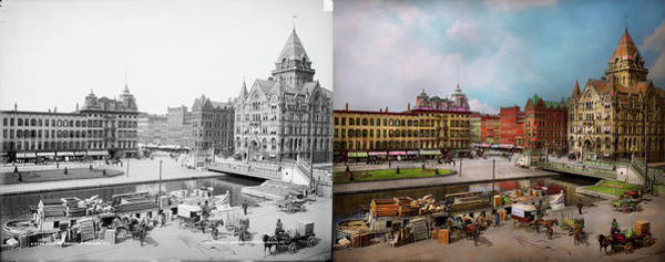 Photograph - City - Syracuse Ny - The Clinton Square Canal 1905 - Side By Sid by Mike Savad