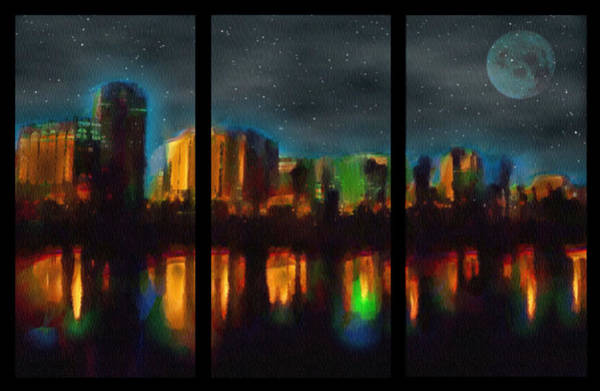 City Under A Blue Moon Art Print