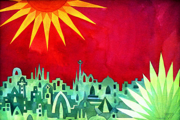 Wall Art - Painting - City Under A Red Sky by Jennifer Baird