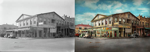 Photograph - City - Victoria Tx - The Old Rupley Hotel 1931 - Side By Side by Mike Savad