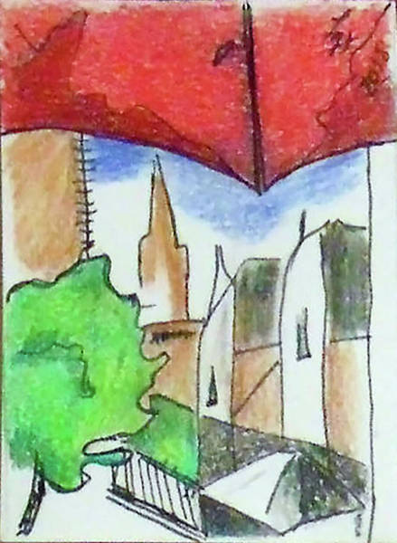 Drawing - Cityscape 963 by Loretta Nash