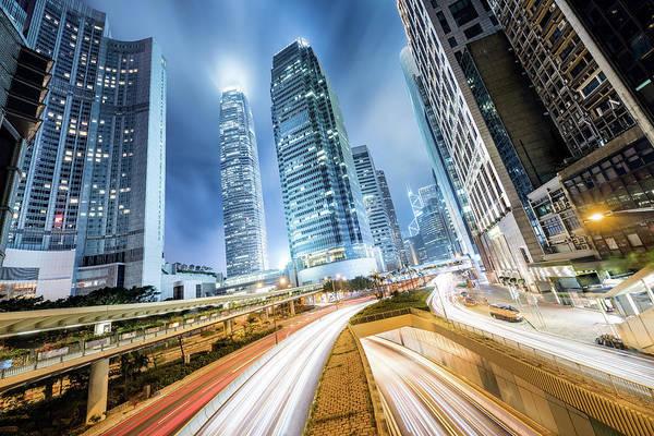 Hongkong Photograph - Cityscape At Night, Hong Kong, China by Gheorghi Pentchev