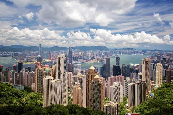 Hongkong Photograph - Cityscape Of Hongkong City Skyline From Victoria Peak by Anek Suwannaphoom