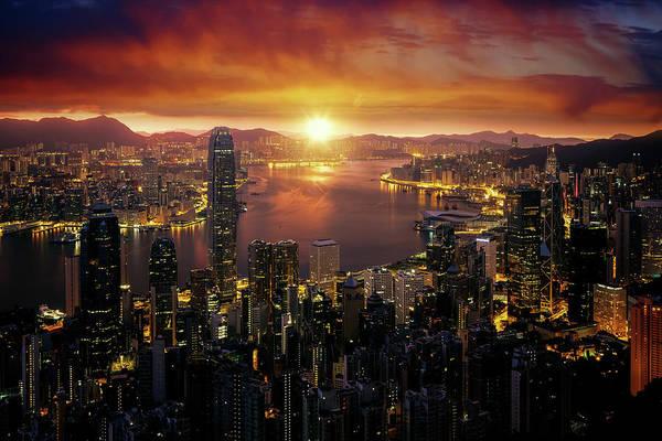 Hongkong Photograph - Cityscape Of Marning Sunrise And Hong Kong City Fron Victoria Pe by Anek Suwannaphoom