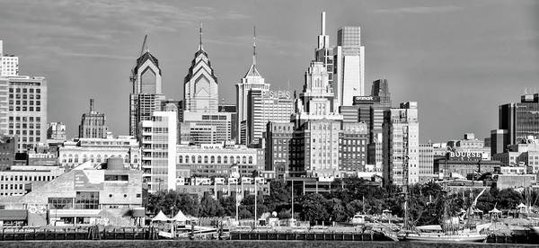 Photograph - Cityscape - Philadelphia From Camden In Black And White by Bill Cannon