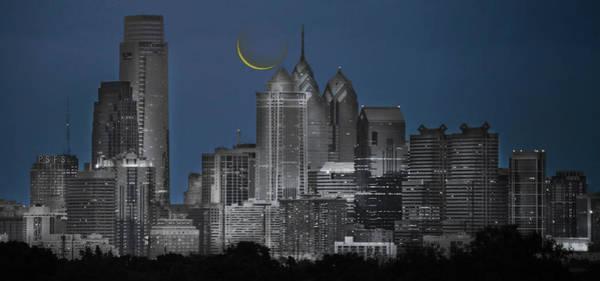 Photograph - Cityscape - Philadelphia Pa- Cresent Moon - Selective Color by Bill Cannon