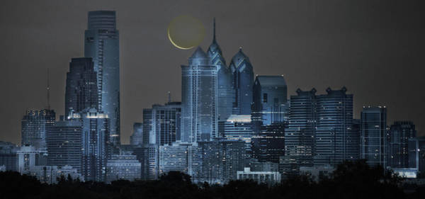 Wall Art - Photograph - Cityscape - Philadelphia With Cresent Moon by Bill Cannon