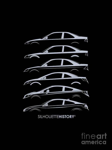Japanese Art Digital Art - Civil Coupe Silhouettehistory by Gabor Vida