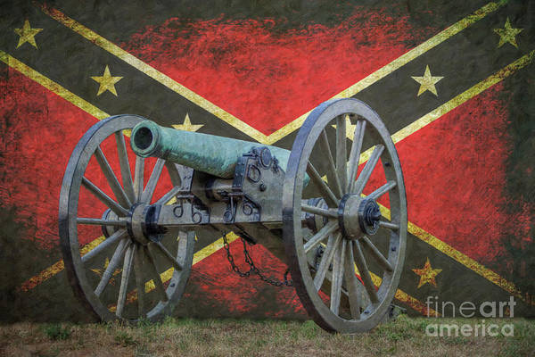 Civil War Cannon Rebel Flag Art Print