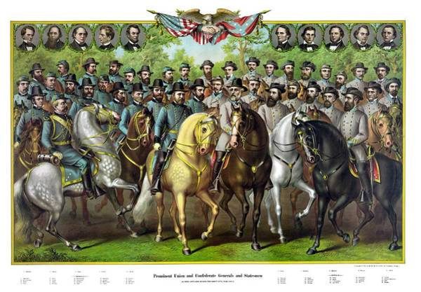 Civil War Wall Art - Painting - Civil War Generals And Statesman With Names by War Is Hell Store
