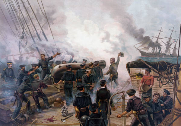 Wall Art - Painting - Civil War Naval Battle - Kearsarge And Alabama  by War Is Hell Store