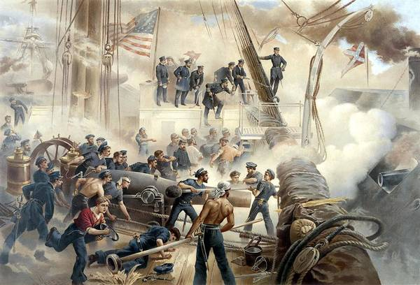 Civil War Wall Art - Painting - Civil War Naval Battle by War Is Hell Store