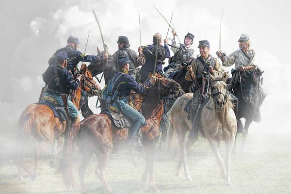 Photograph - Civil War Reenactors In A Calvary Battle by Randall Nyhof