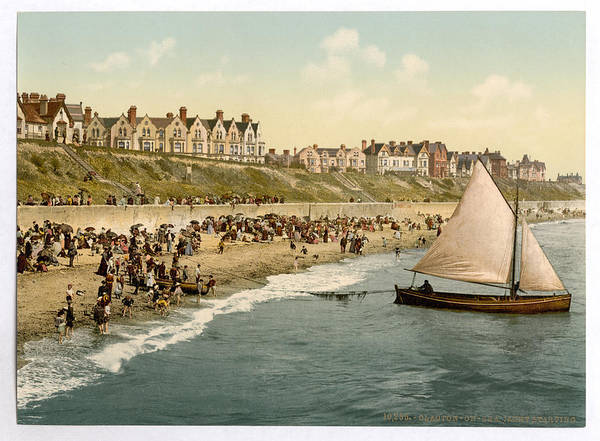 Photograph - Clacton-on-sea 1890s Yacht Launching From Beach by Richard Reeve