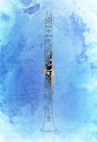 Clarinet Wall Art - Digital Art - Clarinet 21 Jazz B by Drawspots Illustrations