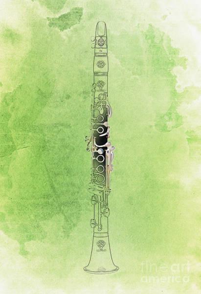 Clarinet Wall Art - Digital Art - Clarinet 21 Jazz G by Drawspots Illustrations