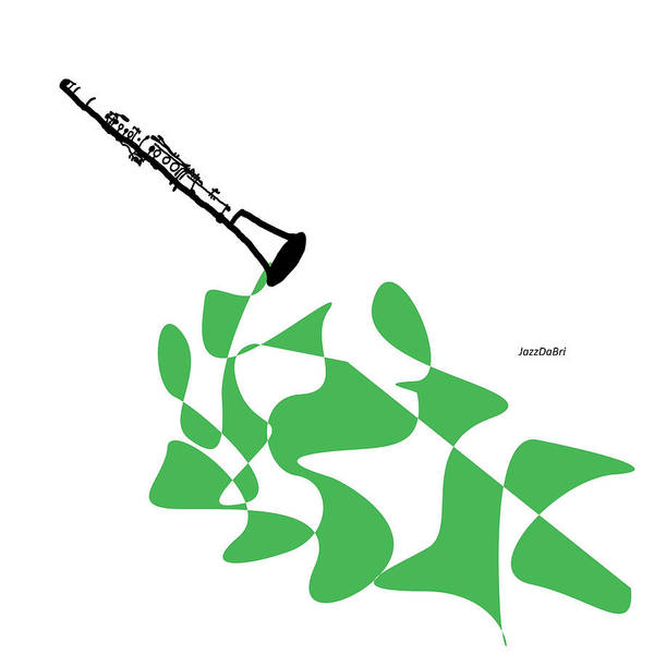 Wall Art - Digital Art - Clarinet In Green. by David Bridburg