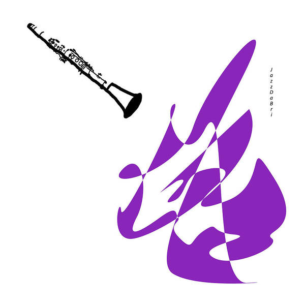 Wall Art - Digital Art - Clarinet In Purple by David Bridburg