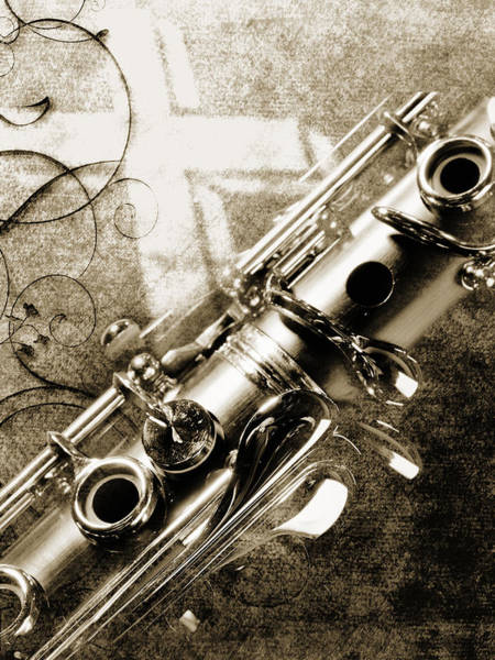 Photograph - Clarinet Music Instrument Against A Cross 3520.01 by M K Miller